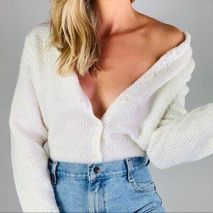 Vintage Robert Scott White Knit Cardigan Sweater